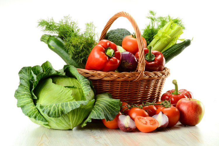 Basket of delicious fresh organic vegetables